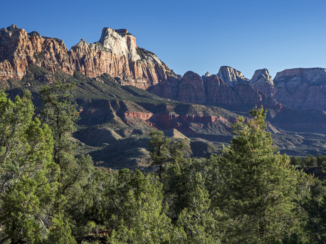 Expansive views of the Zion landscape abound on the hike along the Eagle Crags Trail.
