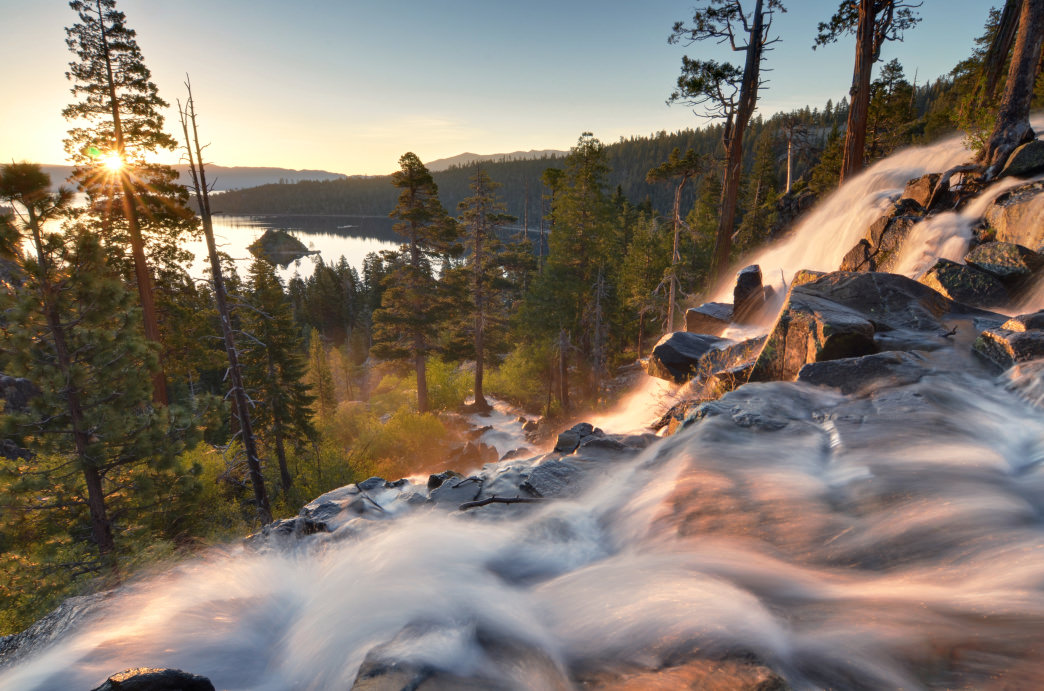 Eagle Falls sview at sunset over Lake Tahoe, CA.