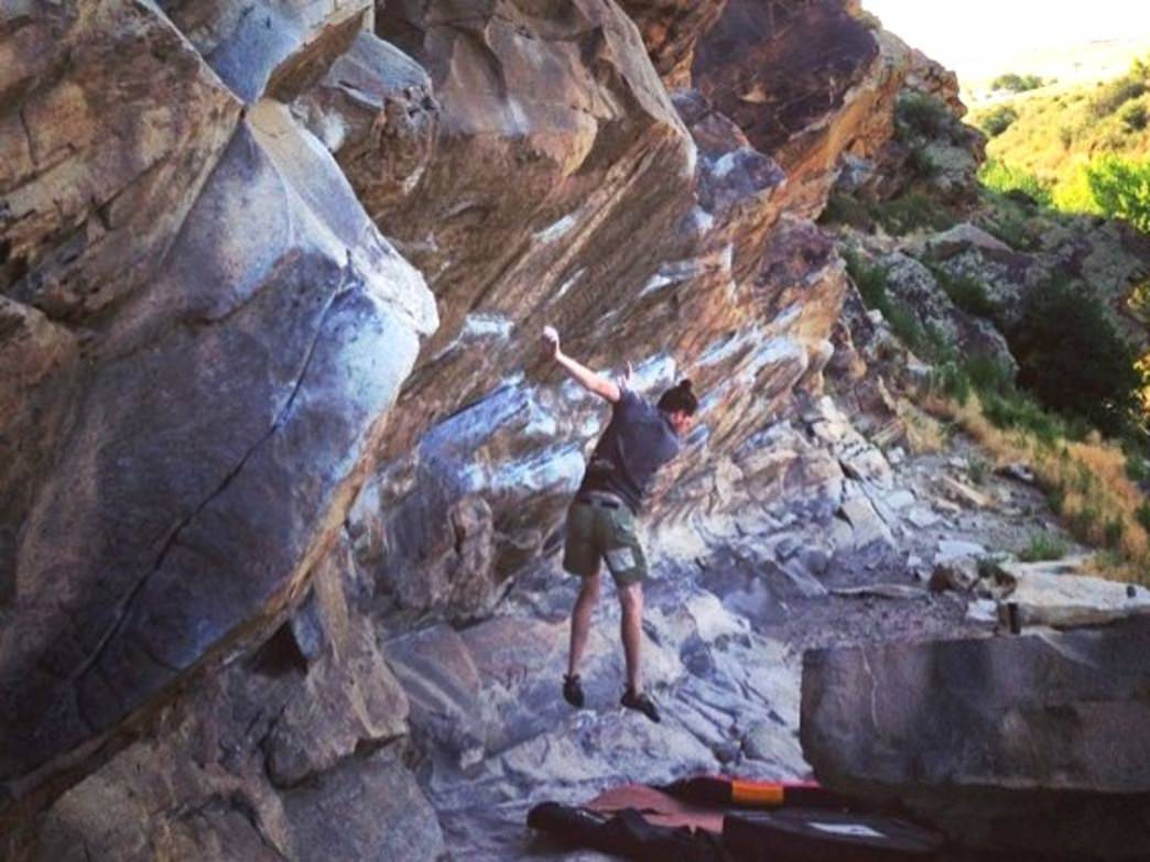 Morrison's myriad boulder problems are a climber's paradise. Pat Brehm takes a burn on Tendonitis Traverse (V5).