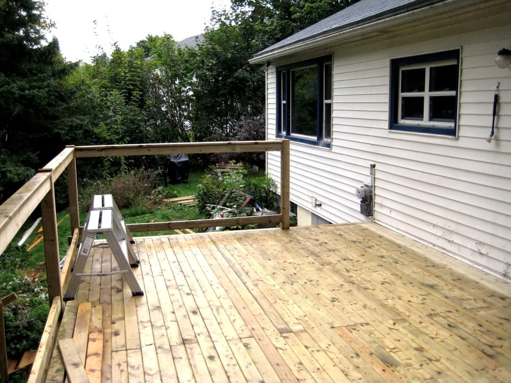 A deck requires infrequent but ongoing maintenance.