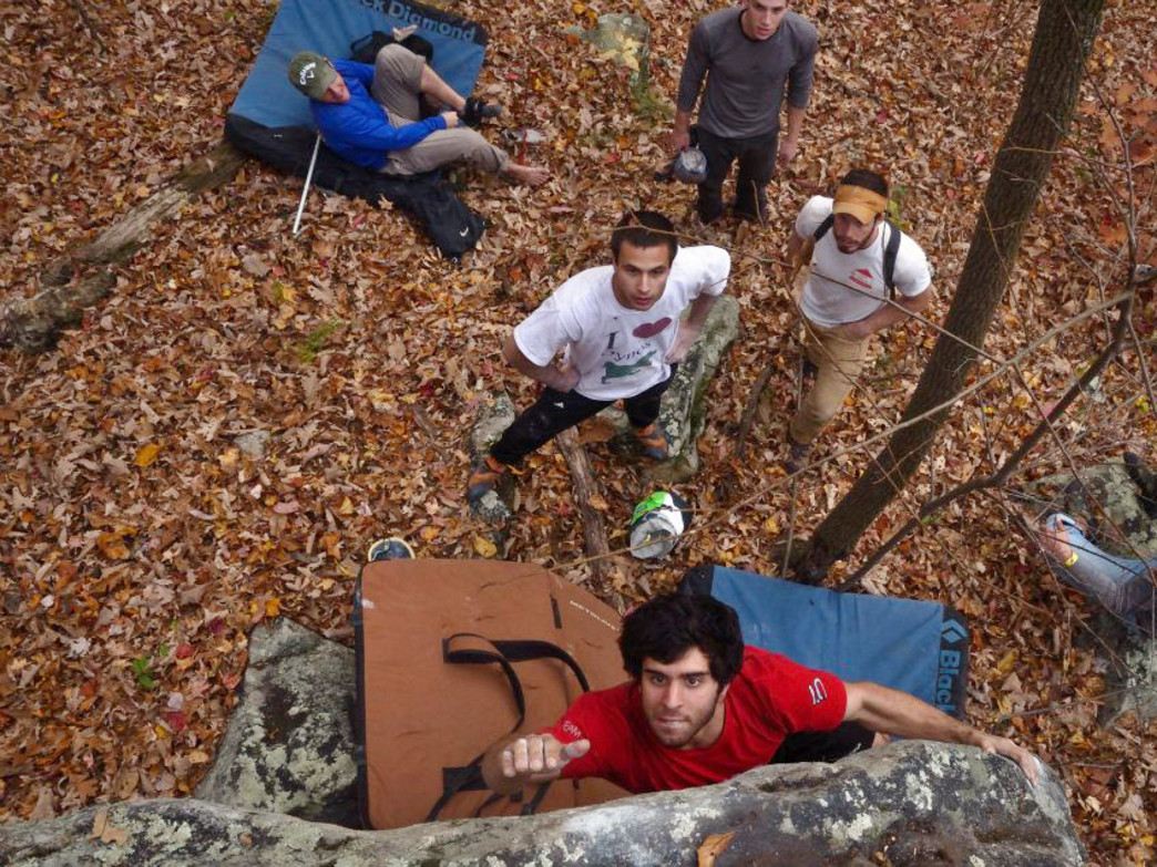 The more the merrier, goes for both crash pads and spotters in bouldering.