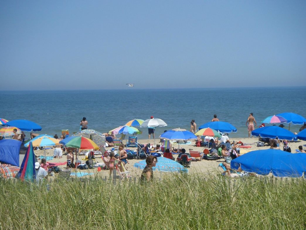 A typical summer day on Rehoboth Beach, Delaware: lots of sunning.