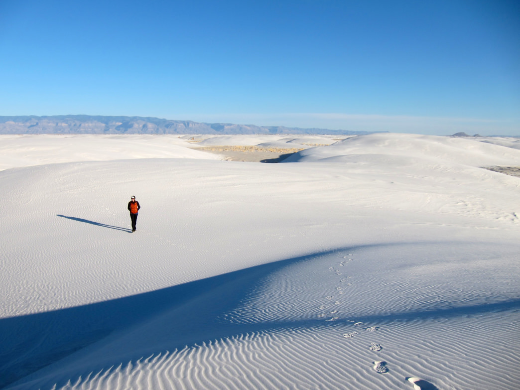 Hiking in the New Mexico's White Sands National Monument.