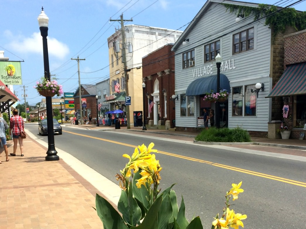 The quaint streets of downtown Chincoteague.
