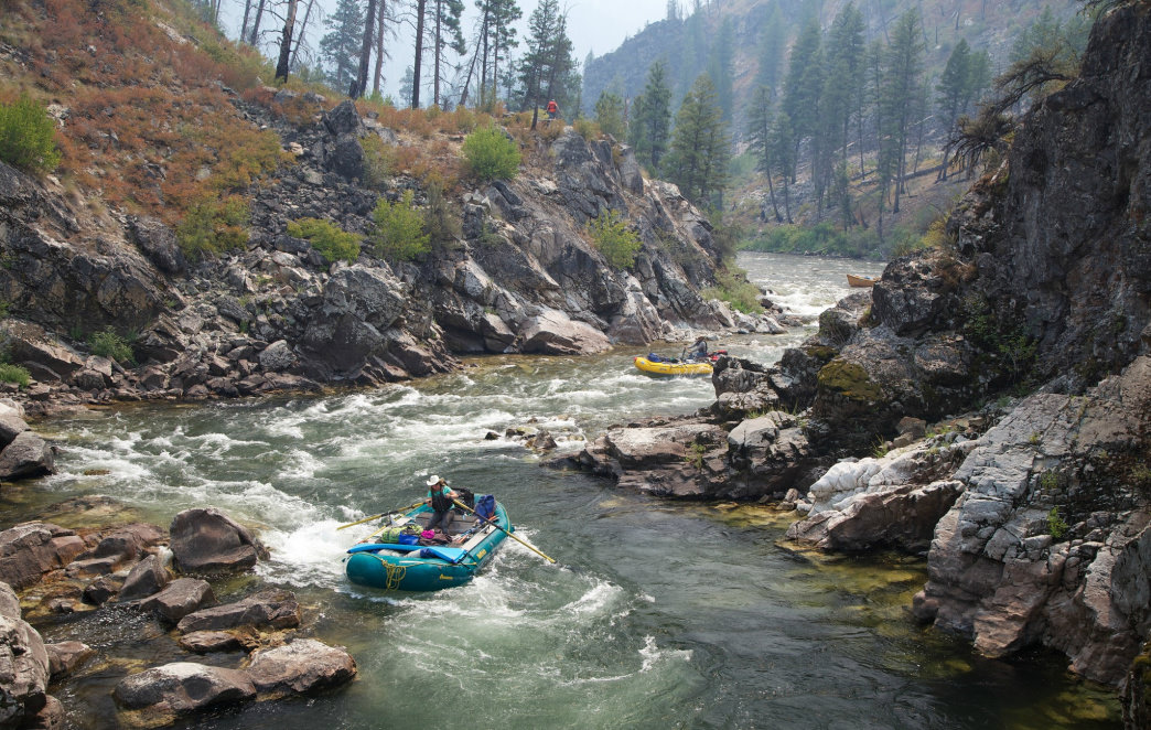 Rafting the Pistol Creek Rapid on the Middle Fork of the Salmon River.