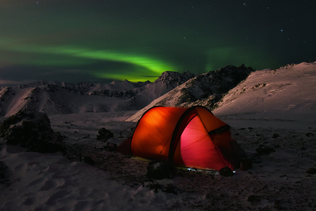 Winter camping in the Chugach Mountains of Alaska.
