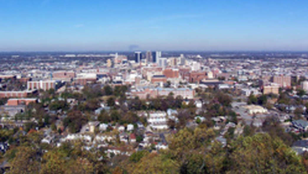 A view of downtown Birmingham from Vulcan Park.