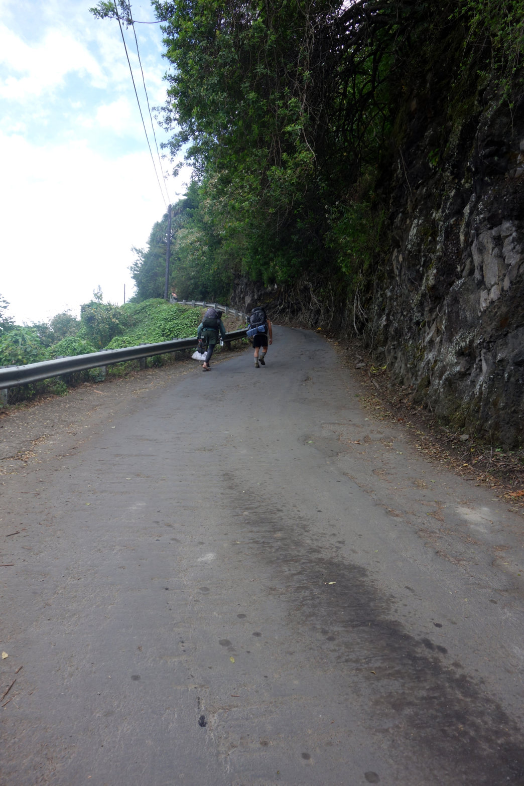 Two hikers trudging up the steepest road in America. (Photos do not do the grade justice.)     Laura Lancaster