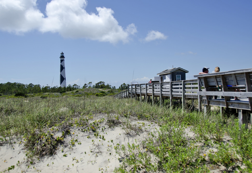 A view of the Cape Lookout Lighthouse at Cape Lookout National Seashore.