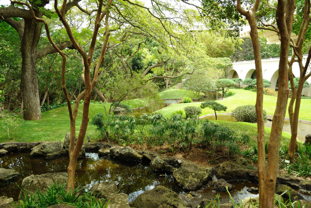 The Japanese Garden at the University of Hawaii at Manoa is a peaceful spot to soak up the outdoors.
