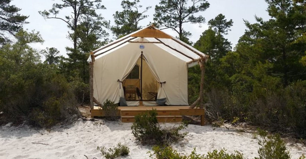 Four cots are ready and waiting for you at the new Outpost primitive campsites in Gulf State Park.