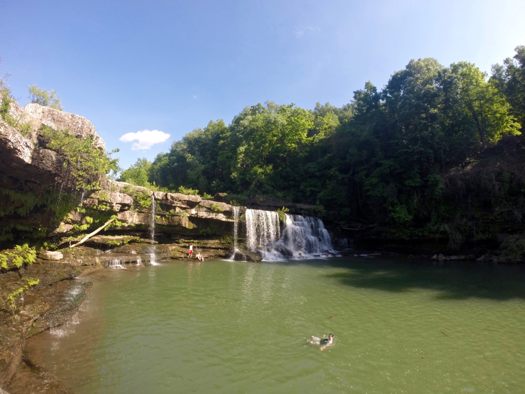 Swimming at Great Falls in Rock Island State Park.