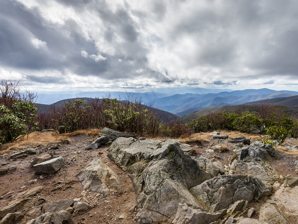 The Appalachian Trail crossing the summit of Rocky Top, the westernmost of the three peaks of Thunderhead Mountain.