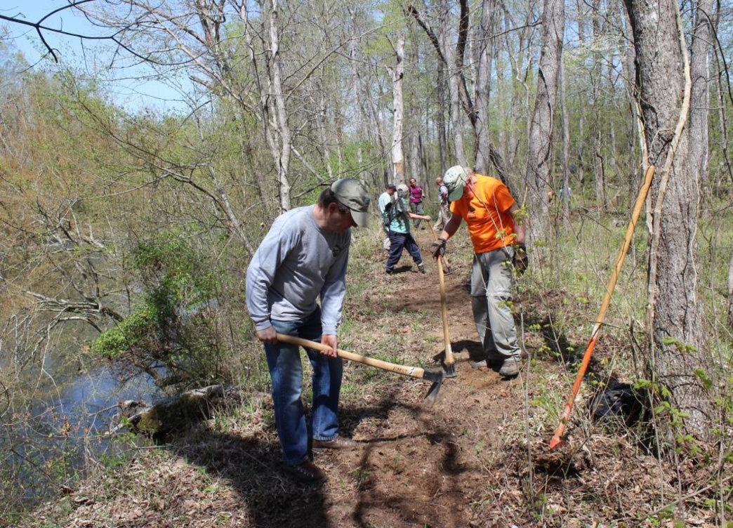 Volunteer opportunities exist almost every weekend for building new trails all over North Carolina.     Bob Ellis