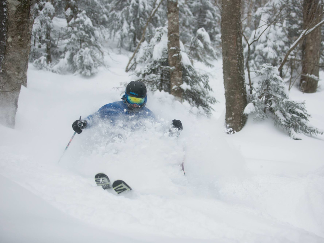 Dropping into pristine powder at Killington