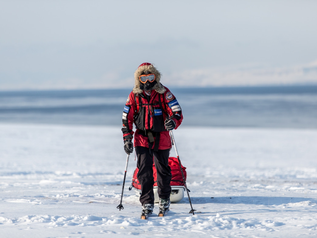 Larsen has skied to the North Pole three times.