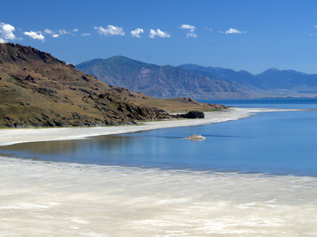 Lay out on white-sand beaches that stretch for two miles along the Great Salt Lake.