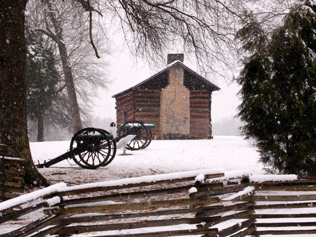 There's nothing more peaceful than a snowy day at Chickamauga Battlefield.