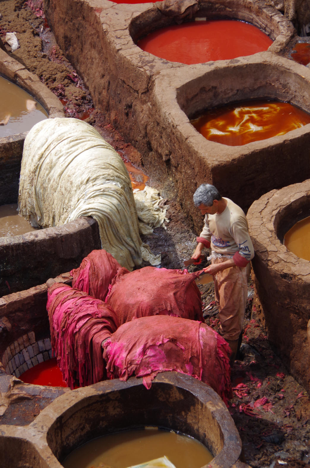 Exploring the Chaouwara Tanneries in Fes.