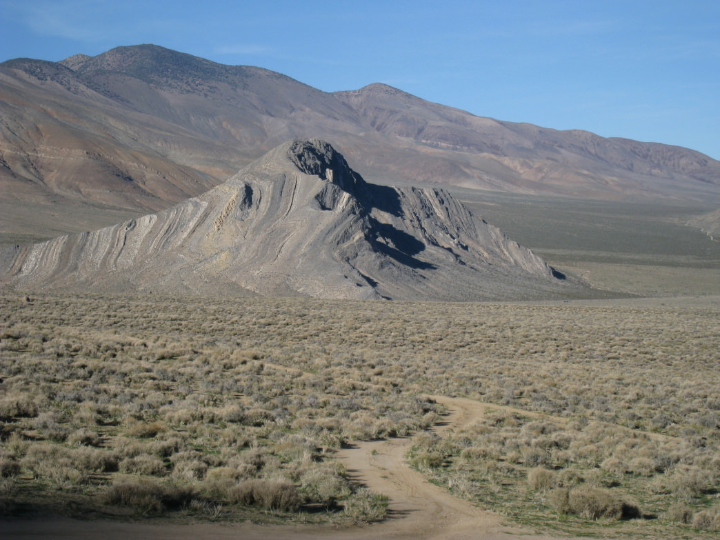 The view of Striped Butte in Death Valley National Park.