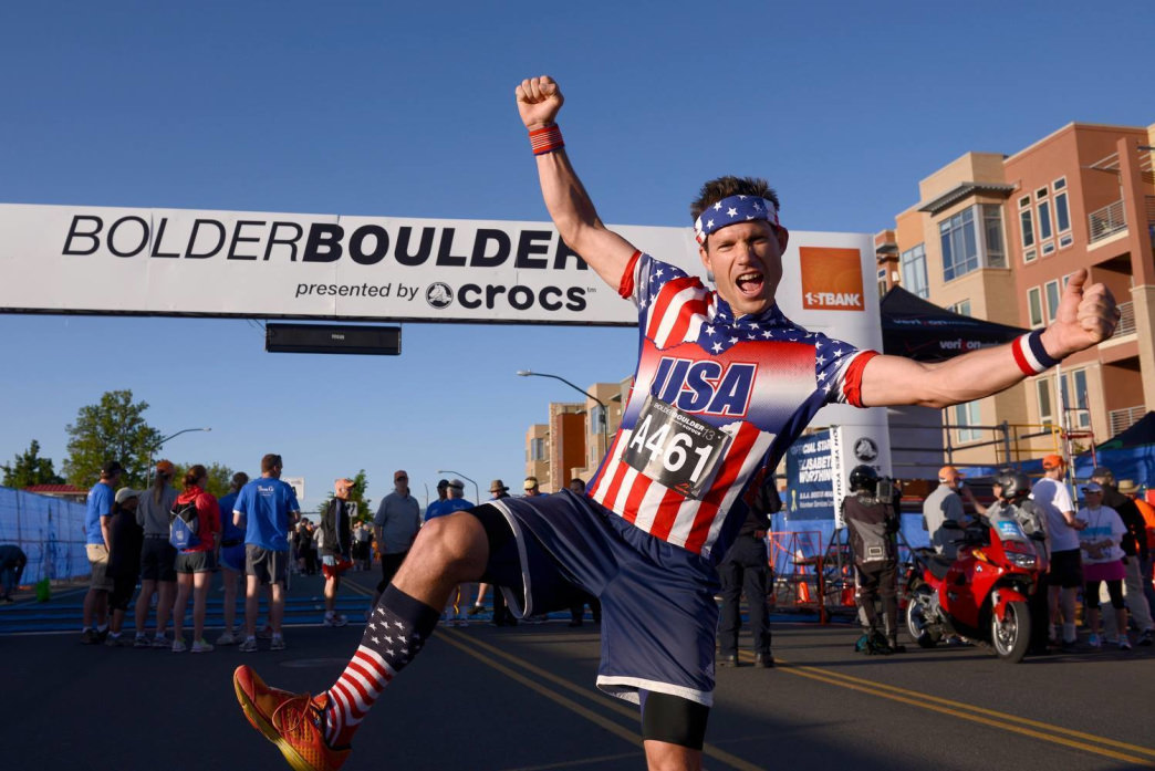 Local personality Ryan Van Duzer always dons his Captain USA suit for the race.