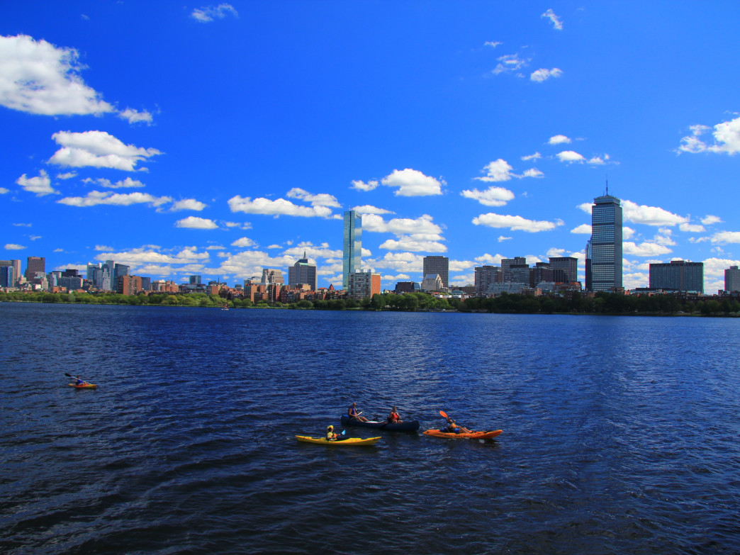 Paddlers on the Charles River