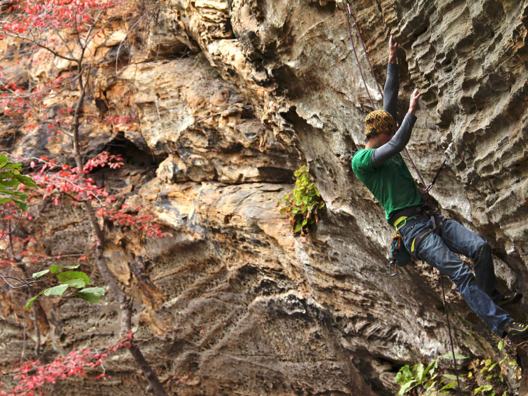 Climbing in Kentucky's Red River Gorge.