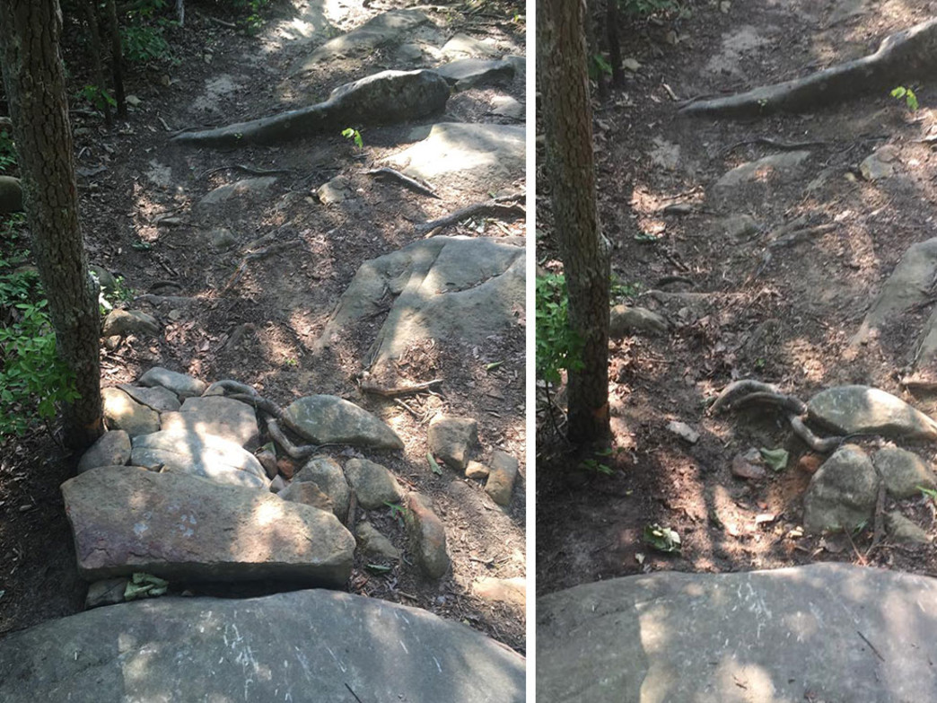 At left, rocks stacked into a ramp on Raccoon Mountain's Megawatt Trail. At right: returned to its intended state.