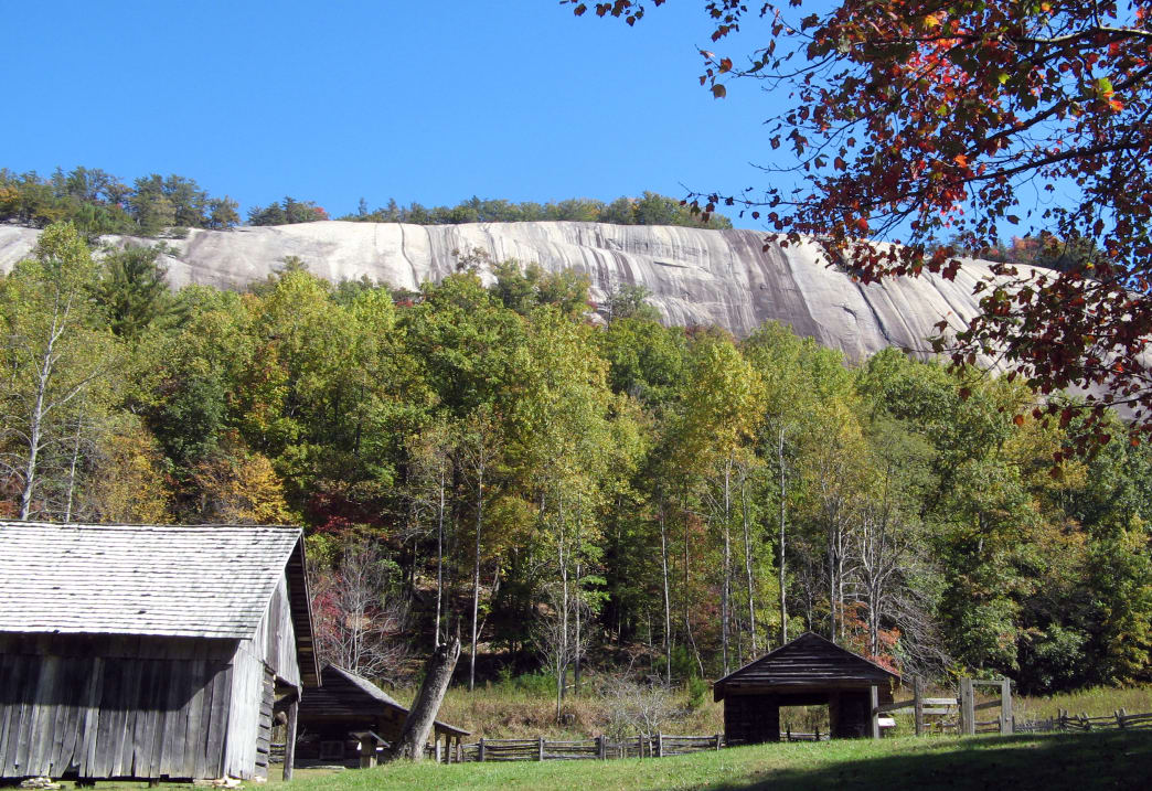 Stone Mountain's 600-foot granite wall looms over the countryside.