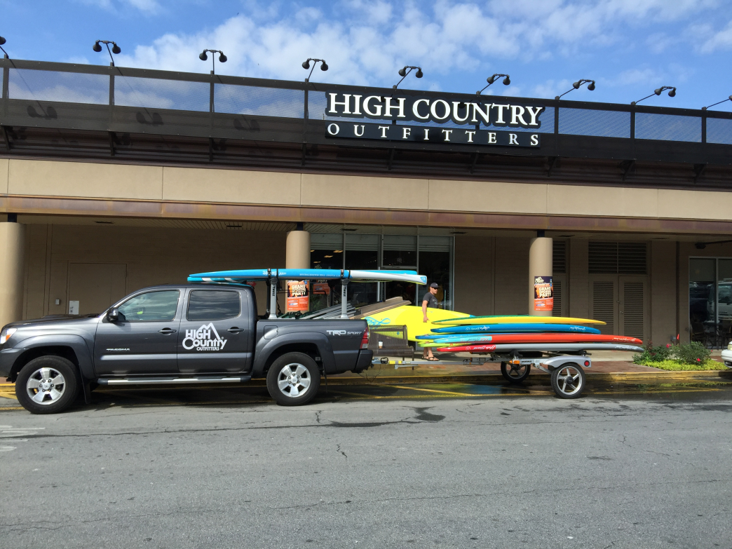 High Country Outfitters helps customers get out on the water by renting stand-up paddleboards.