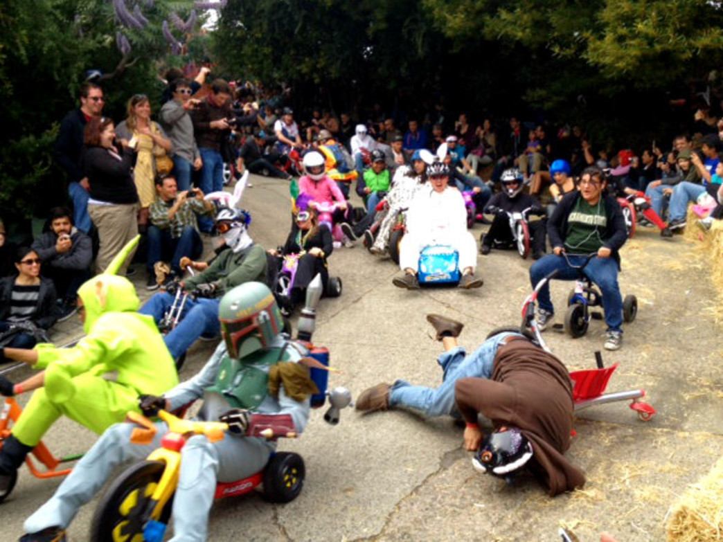 Just another heat at the Bring Your Own Big Wheel race on Easter Sunday.