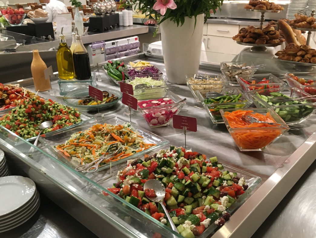Salad is a great way to start the day. Israeli breakfast buffets frequently stray way beyond typical American breakfast food.