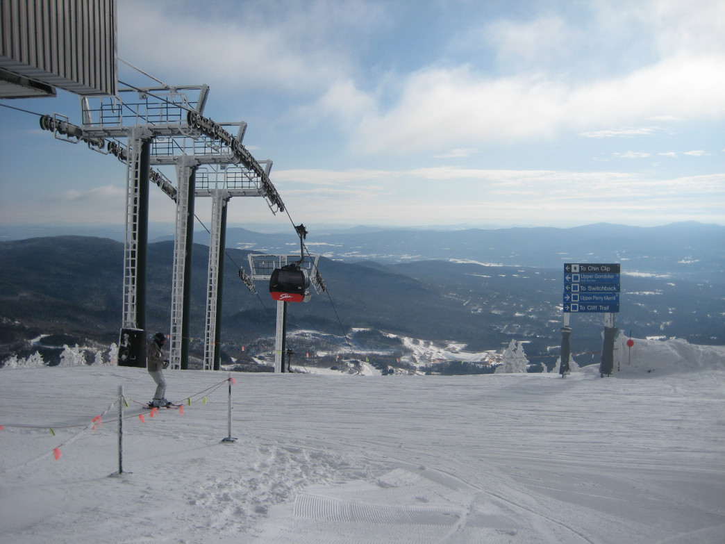 The view from the top of the summit gondola at Stowe Mountain Resort in Stowe, VT.