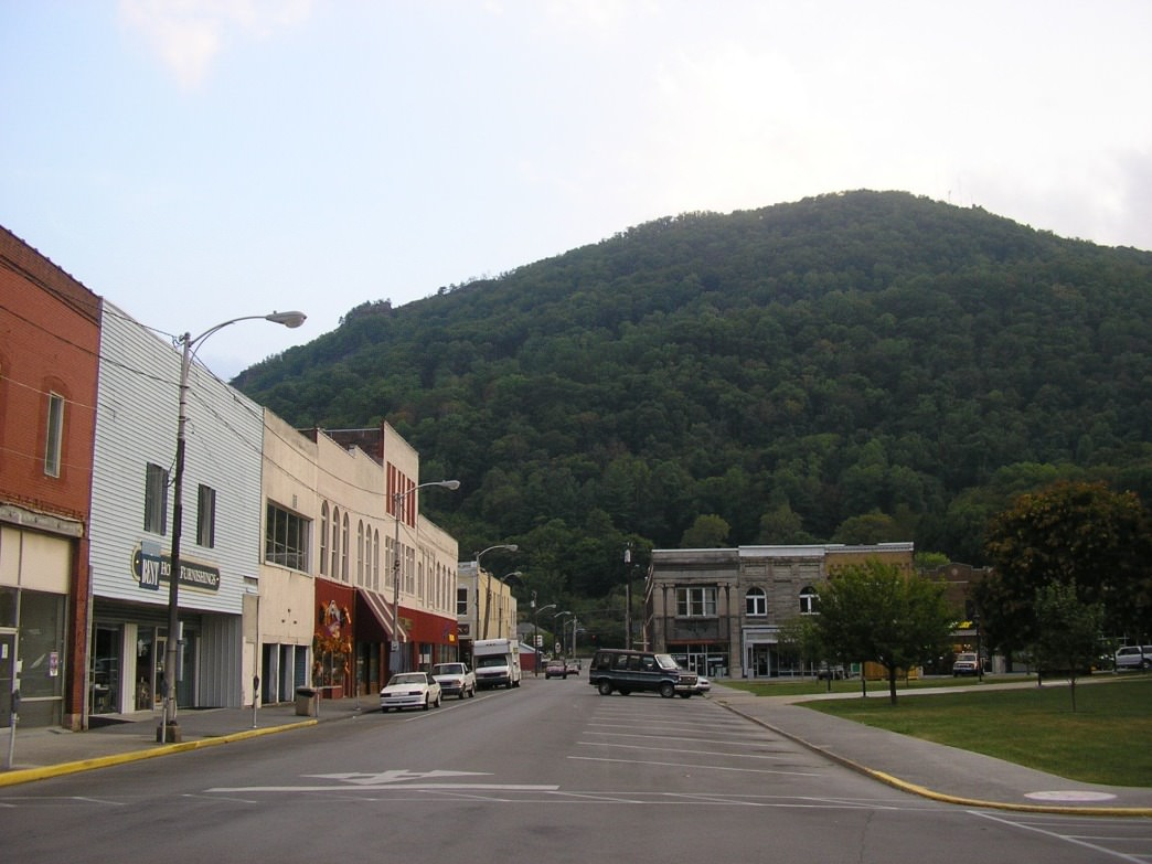 Downtown Pineville, Kentucky, which marks the start of the Pine Mountain State Scenic Trail.