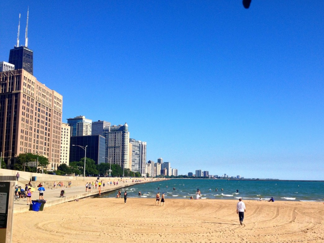 Swimming along the seawall at Ohio Street Beach provides an easy way to put in the open-water miles.