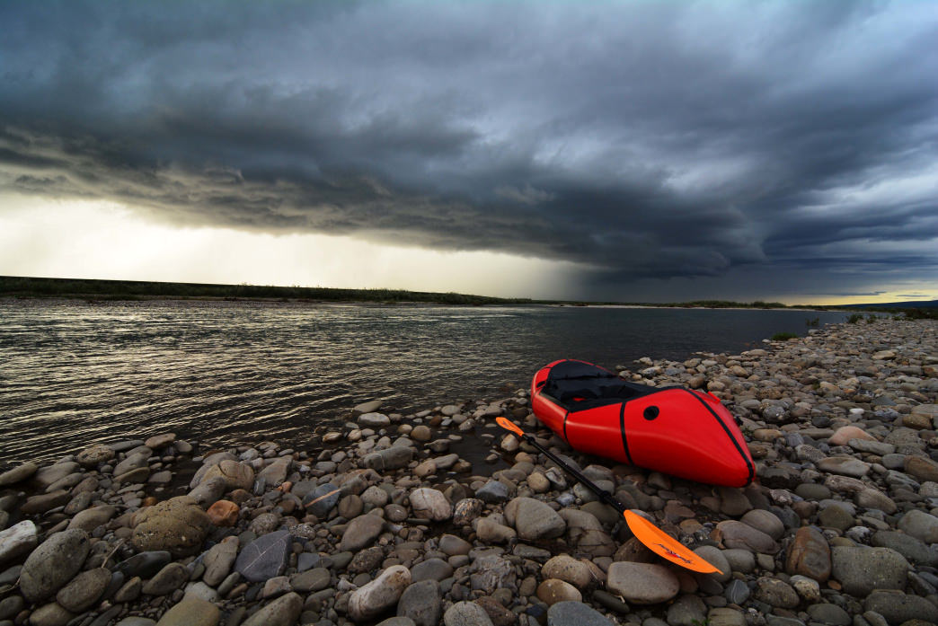 Packraft on the Anaktuvuk River, North Slope, Alaska.