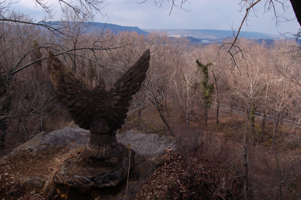 One of two concrete eagles sculpted in the 1930s by Spefano Giuliano