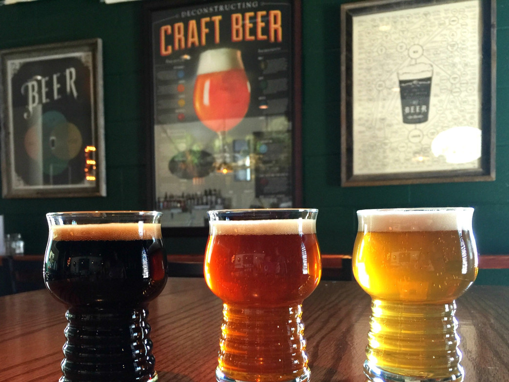 A sampling of brews at Hunter's Brewing, the perfect place to enjoy a trail-to-tavern pint