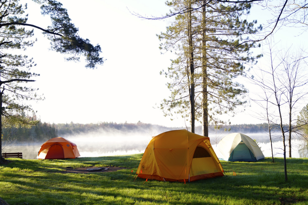 Camping is allowed in some places along the Ice Age Trail, such as at Jerry Lake, Wisconsin.