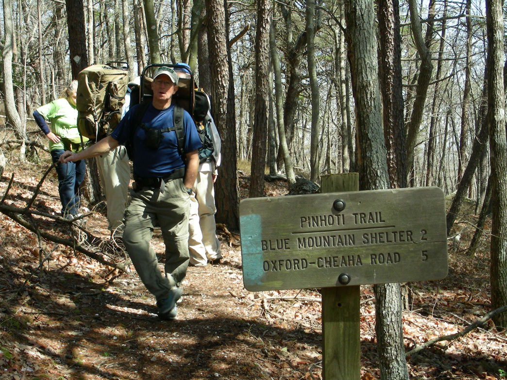 A hiker takes a break along the Pinhoti Trail in Alabama, heading north toward Georgia and the Appalachian Trail.