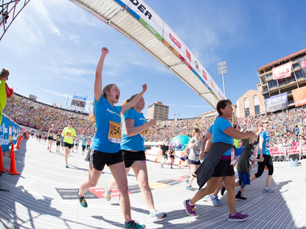 With a stadium crowd cheering on, the final strides to the finish are triumphant and fun.