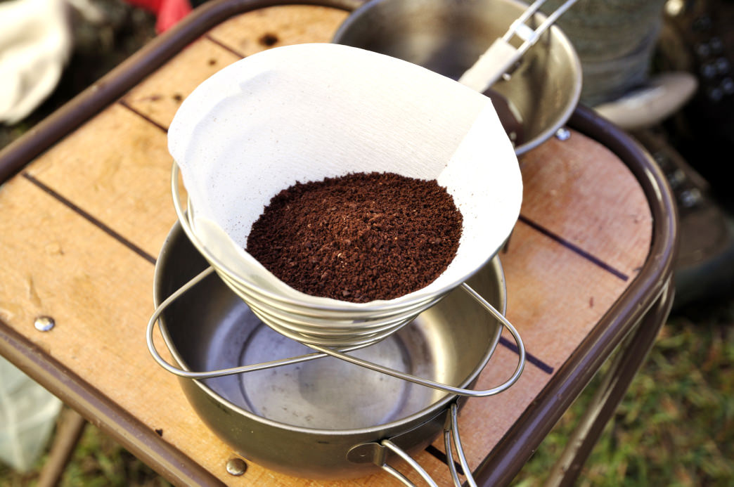 The pour over method is a super lightweight way to carry the supplies needed for a morning cup of joe.