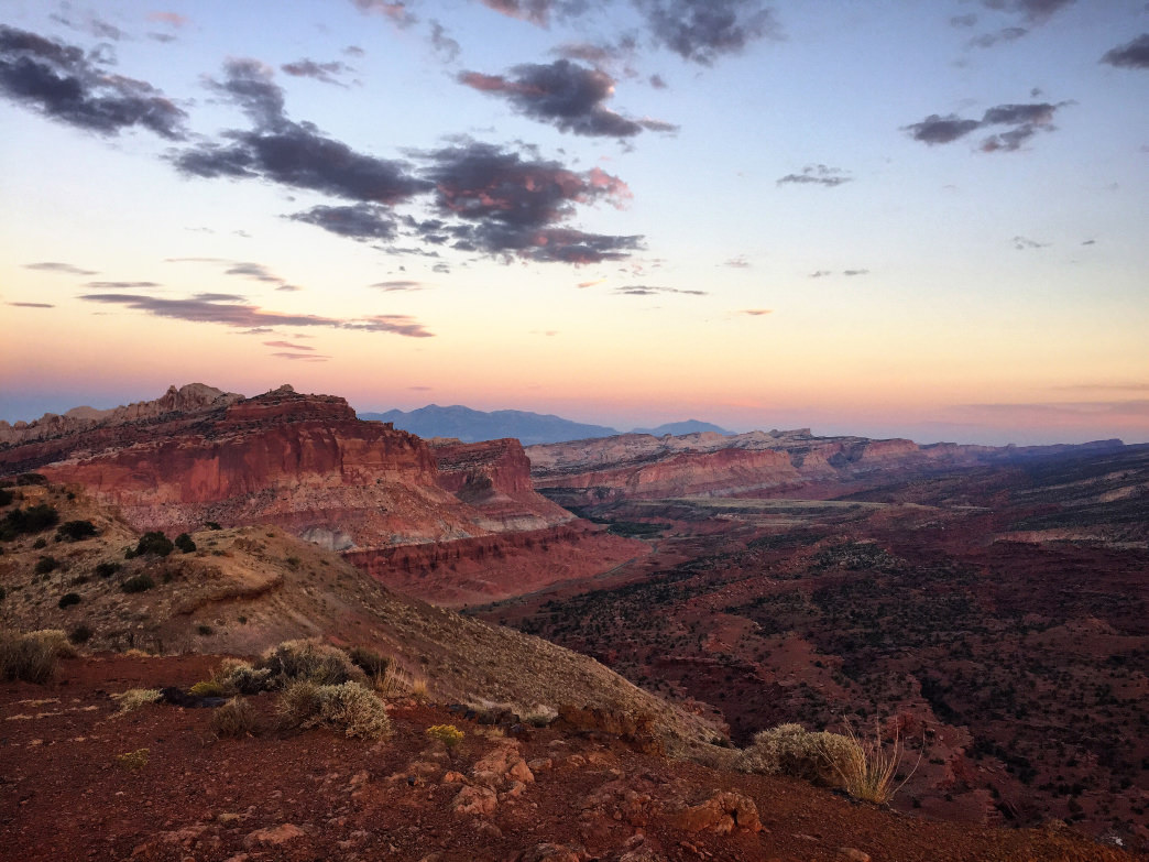 The sun sets over Capitol Reef National Park. Sarah Levant