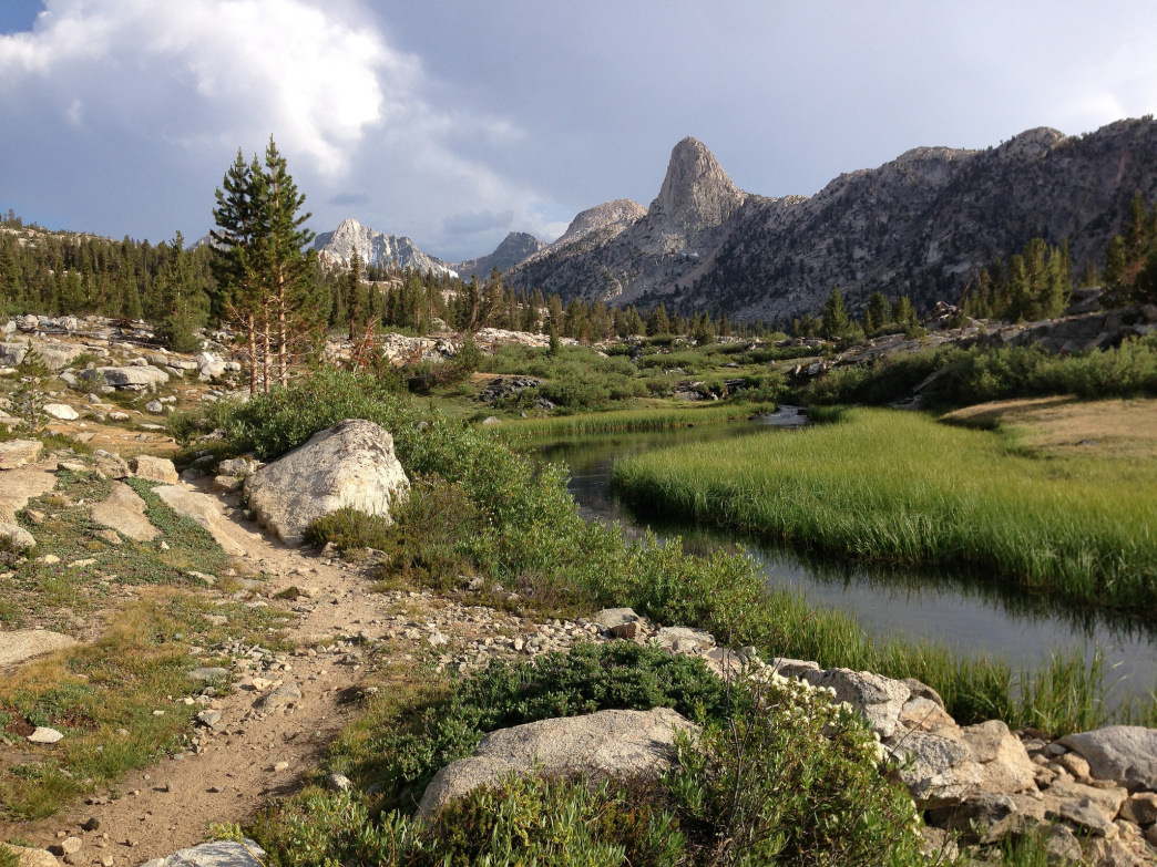Backpacking through Kings Canyon along the John Muir Trail near Rae Lakes.
