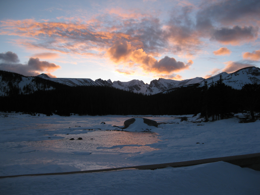 Brainard Lake in the Indian Peaks Wilderness at sunset.
