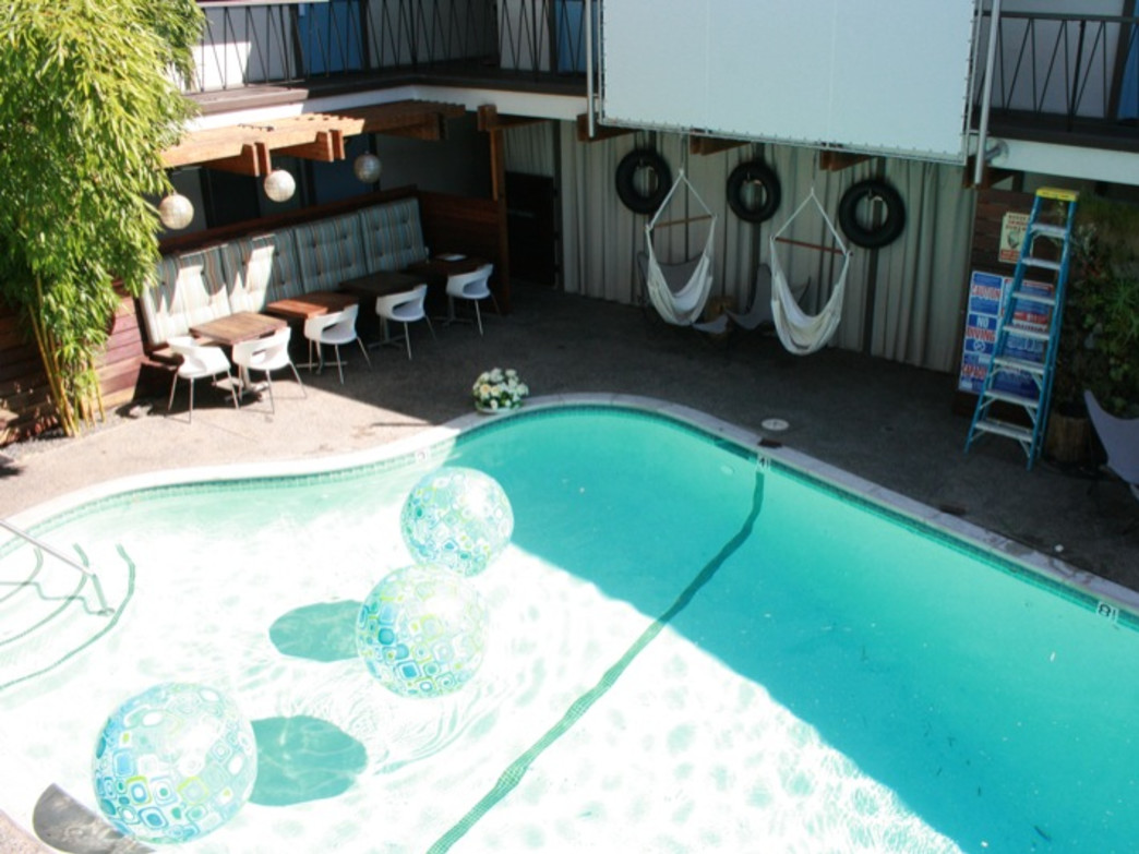 The Pearl is a fun, retro hotel with a pool and hammock chairs. What more could you ask for?