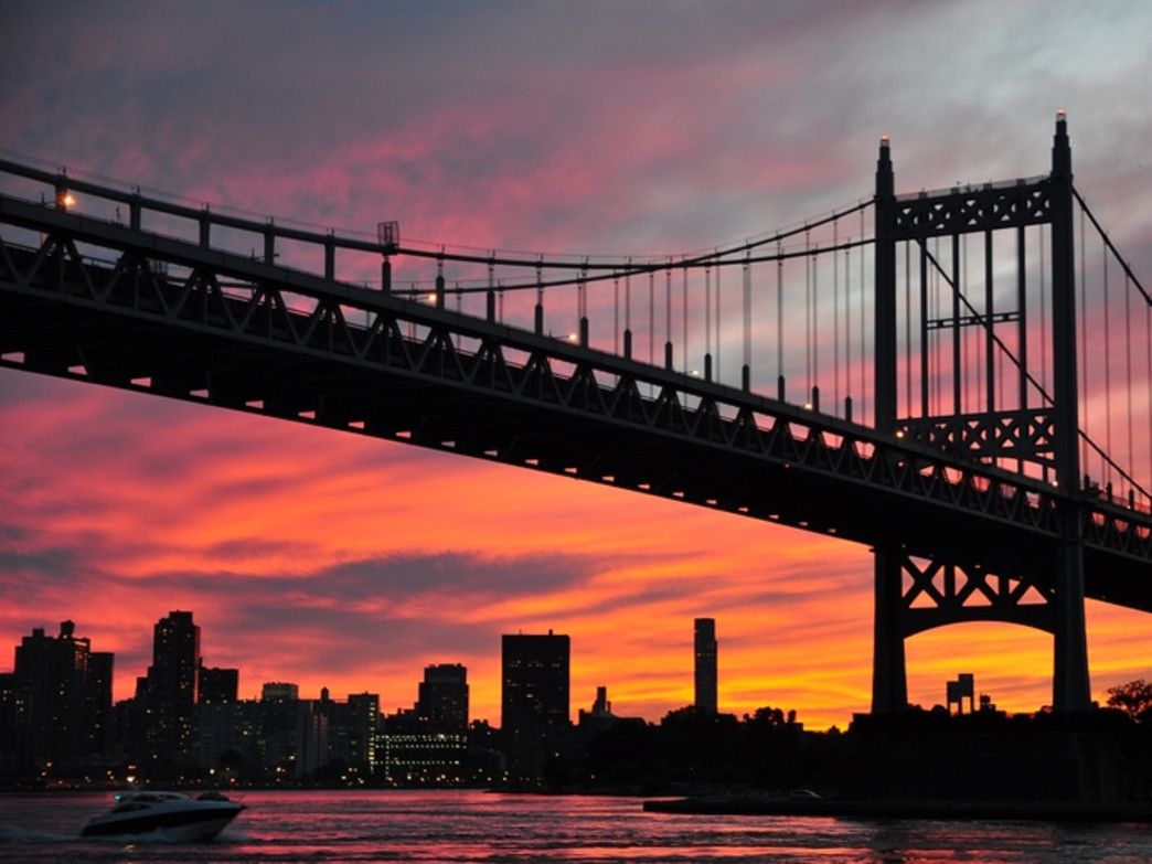 There are plenty of big sky views during the Tour De Bronx. This is the RFK Bridge at sunrise