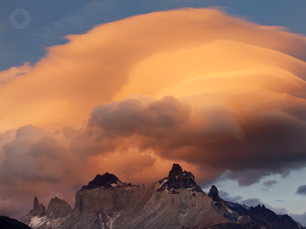 Sunset glow over Cuernos in Chilean Patagonia