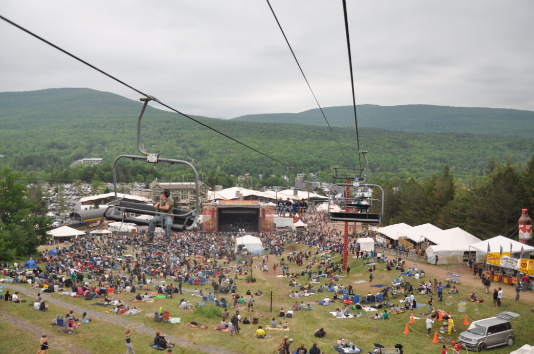 New York's Mountain Jam music festival view from chairlift.