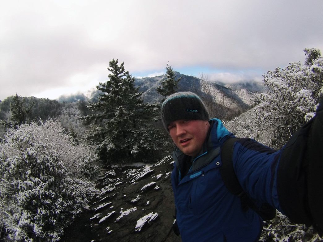 Snap a selfie near the lonely summit of Mount LeConte.